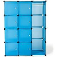 die eine Vielzahl von Speicheranforderungen erf/üllen k/önnen Gro/ß Kleiderschrank Stoffschrank Faltbare Garderobe mit 12 Regale Herzberg HG-8009: Kleiderschrank Blau