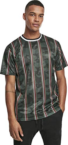 Southpole Herren Thin Vertical Stripes AOP T-Shirt, Green, L