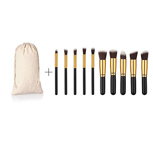 Kit de 10 Pinceaux Maquillage+1pc Etui Toile à Yeux et Visage Brosse Cosmétique - Noir Or