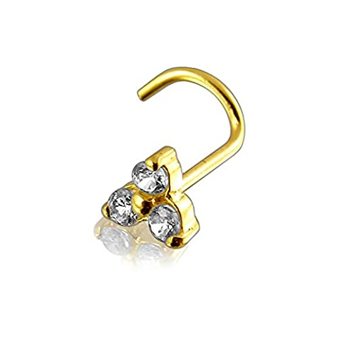 14ct Solid Yellow Gold Triple Round CZ Stone 20Gauge (0.8MM)