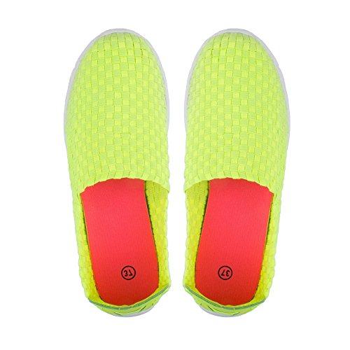 Ideal Shoes-Scarpe da ginnastica Regine intrecciati Giallo (giallo)