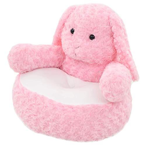HURRISE 55 x 50 x 50 cm Hase Plüsch Kindersessel Kinder Kissen Sofa, Tier Form Sessel für Wohnzimmer Schlafzimmer, Polyester Kuscheltier Baumwollfüllung, Rosa