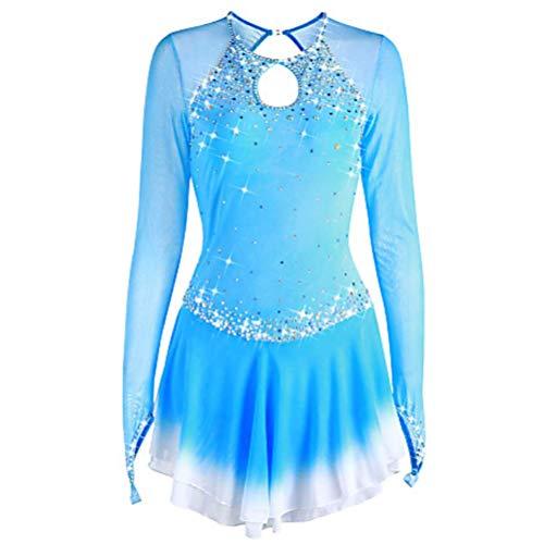 Kostüm Eiskunstlauf Billig - YunNR Professionel Erwachsene/Mädchen Abbildung Eislaufen Kleid Lange Ärmel Rollschuhlaufen Kostüm Elasthan Turnanzug Gymnastik-Wettbewerb Kleider,Blue,XL