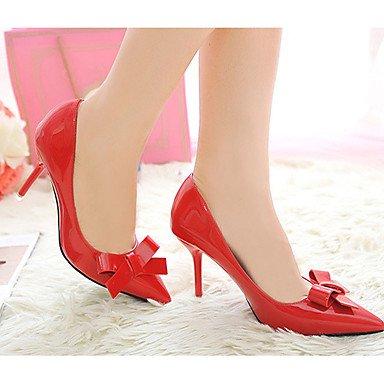 Moda Donna Sandali Sexy donna caduta tacchi Comfort PU Casual Stiletto Heel Bowknot nero / rosa / rosso / grigio altri Red