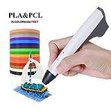 TIANSE Penna di stampa 3D con LED Disply e 330ft 1.75mm Filamento Multicolore materiale PLA/PCL e protezioni per le dita, rimozione pala per bambini come regalo Multicolore