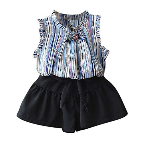 feiXIANG Kinderbekleidung Sommerkleidung ärmellose Kinder Baby Mädchen gestreiften T-Shirt Shorts Outfits Set(Blau,100)
