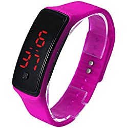 FEITONG Ultra Thin Sports Silicone Digital LED Wrist Watch Hot Pink