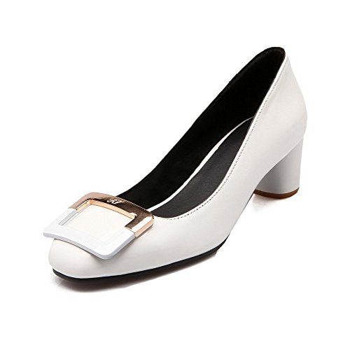 AllhqFashion Damen Ziehen Auf Quadratisch Zehe Mittler Absatz Eingelegt Pumps Schuhe Weiß