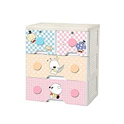 TheTickleToe Thickened Plastic Mushroom Head Cartoon Chest of Drawers Closet Wardrobe Organizer Kids Boy Girl Room Baby Nursery Decor DIY 3 Layers Drawers with 2 Locks Beige
