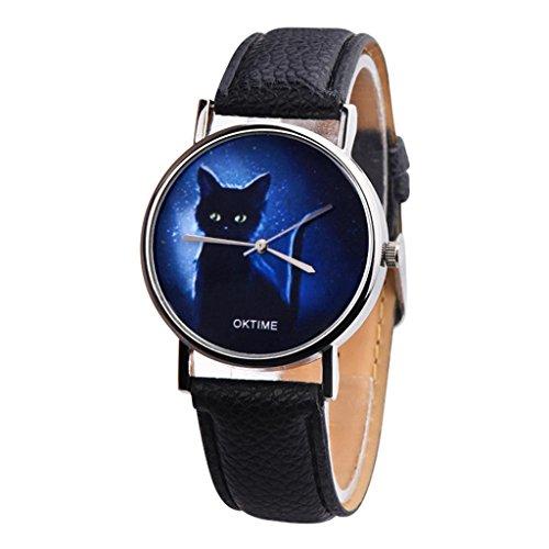 Hevoiok 2018 Hot Sale Damen Uhren Einfache Katze Muster Design Modisch Lederband Damenuhren Armbanduhr Quartzuhr Analog mit Batterie (Schwarzer)