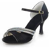 Jia Jia 20524 Latin Women's Sandals 2.8'' Flared Heel Super Satin with Rhinestone Dance Shoes