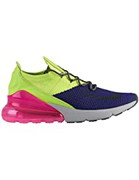 45a76b3f83648b Nike Men s Air Max 270 Flyknit Regency Purple Thunder Grey Volt Nylon  Basketball Shoes