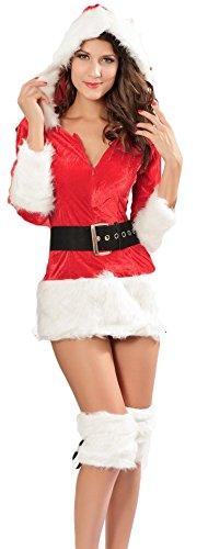 Fancy Me Damen Sexy Mrs Miss mit Kapuze Weihnachten Weihnachtsmann Kostüm Kleid Outfit UK 8-10 - Rot, Damen: Einheitsgröße, Damen: One ()