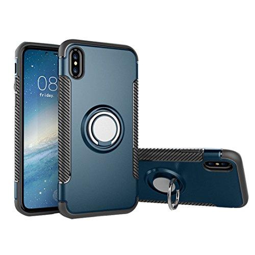 Custodia iPhone X, copertura iPhone X, Armatura dellanello Disegno a doppio strato shockproof protettivo in fibra di carbonio TPU Custodia protettiva case cover for iPhone X-rosso blu navy
