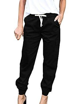 Pantalones Largo para Mujer - Moda Cintura Media Suelto Pantalon Cómodo Cintura Elástica Color Sólido Casual Pantalones...
