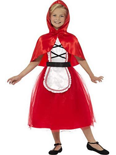 Halloweenia - Mädchen Kinder Rotkäppchen Kostüm Deluxe mit Kleid und Umhang, perfekt für Karneval, Fasching und Fastnacht, 140-152, Rot