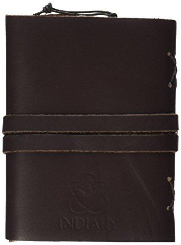 INDIARY Luxusnotizbuch aus echtem Leder und handgeschöpftem Papier Glattleder A5 - Braun