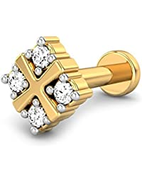 Candere By Kalyan Jewellers 18k (750) Yellow Gold and Diamond Sierra Nose Pin