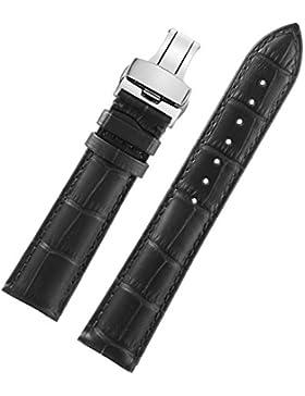 20mm schwarz Luxus klassisches Premium-Herren-Uhr-Band Riemen Ersatz Alligatorprägung moderates gepolstertes strapazierfähiges...