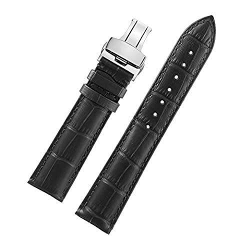 26mm Black Exclusive Wide Leather Watch Bands Men's Watches Leather