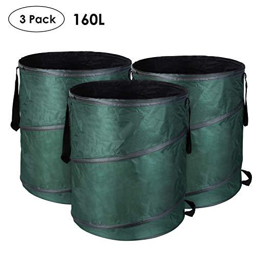 MVPower 3er Gartensack 160L Gartenabfallsack aus 600D Oxford Gewebe - selbststehend und faltbar - 56 * 66cm Abfallsäcke für Gartenabfälle Laub Rasen Pflanz Grünschnitt (3xSäcke)