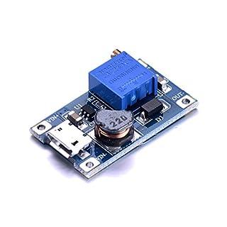 ATOPLEE 2 Stück DC DC-Boost-Converter Step-up Voltage Regulator Spannungskonstanthalter Einstellbare Stromversorgung DC 2-24V bis 5V 9V 12V 28V 2A mit Micro-USB-Eingang