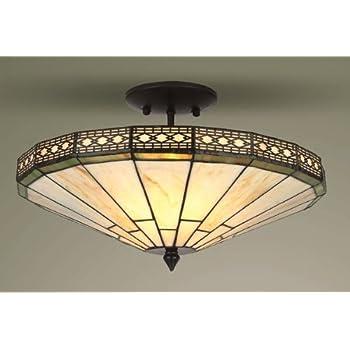 Mission Tiffany Semi Flush Ceiling Light: Amazon.co.uk: Kitchen & Home