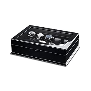 Hermann Jäckle Villingen Uhrenbox für 10 Uhren mit Glasfenster – schwarz