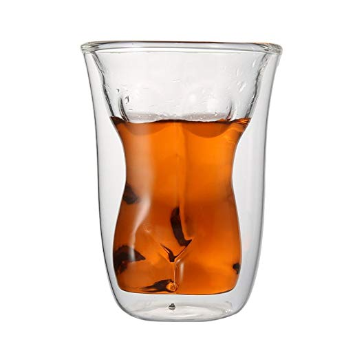 FUXIAOCHEN 150Ml Doppelschicht Glassy Cup Dual Walled Nackte Weibliche Design Bier Whisky Tee Kaffee Trinken Für Party, A