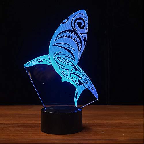 Crjzty 3D Kinder Schlafzimmer Schlaf Nachtlicht 7 Farbwechsel Usb Tier Shark Modellierung Tischlampe Led Leuchten Urlaub Geschenke Dekor