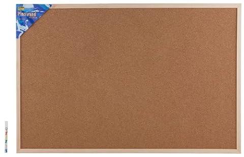 Idena 568023 - Pinnwand mit Holzrahmen 60 x 90 cm - inkl. 5 Pinwandnadeln und 2 Schrauben
