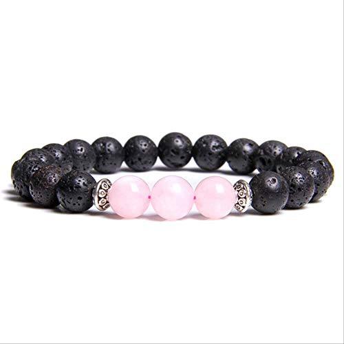 ruofengpuzi Pulsera De Hombre Natural Negro Lava Rock Round 8Mm Pink Crystal Beads Glamour Pulsera De Mujer Blue Sodalite Pulsras Regalo De Hombre 21Cm 9