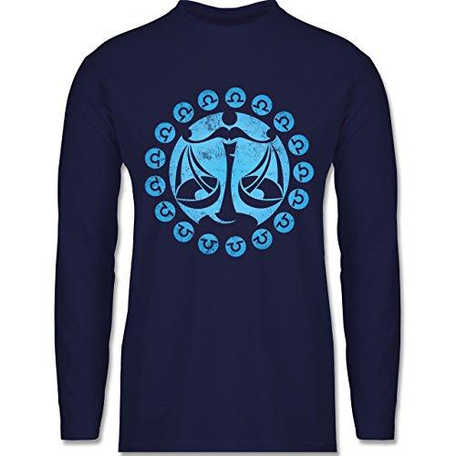 Shirtracer Symbole - Tierkreiszeichen Waage - Herren Langarmshirt Navy Blau