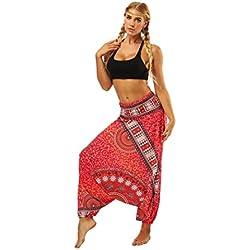 DAYLIN Mujer Verano Casual Suelto Pantalones de Yoga Boho Aladdin Mono Pantalones de Harén (Talla única, 04)