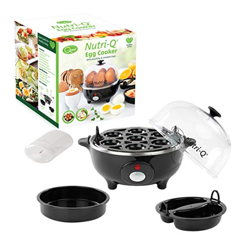 41LgE1Ov3vL. SS500  - Nutri-Q 31729 Healthy Eating Egg Boiler with Poaching Tray Black, Plastic, 360 W