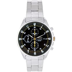 Seiko SNDC89P1's Watch Quartz Chronograph Black Dial Steel Strap Grey
