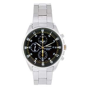 Seiko - SNDC89P1 - Montre Homme - Quartz Chronographe - Cadran Noir - Bracelet Acier Gris
