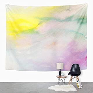 Eriesy Wall Tapestry Blue Abstract Watercolor Turquoiseyellow Pink Hand Teal Artistic Baby Bright Tapestry Wall Hanging Home Decorations Mysterious for Bedroom Home 150x200cm