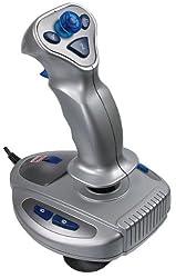Speedlink Wasp² Flight- und Joystick für PC (8 Feuertasten, Schubkontrolle, Rundumsichtkontrolle, USB) silber blau