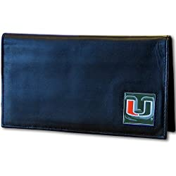 NCAA Miami Hurricanes Deluxe Leather Checkbook Cover