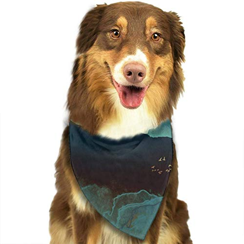 Hipiyoled Pet Bandana Bibs Pet Bandana Triangle Bibs Scarf Accessories for Dogs Cats Pets Animals (Indigo Mountains) -