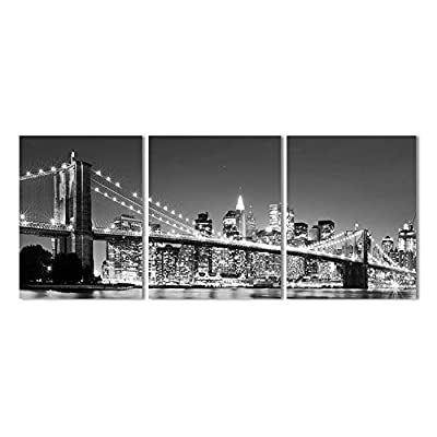 XrsArt 3 Piece Modern wall Painting New York Brooklyn bridge Home Decorative Art Picture Paint on Canvas Prints (Unframed) Unframed FCa32 36 inch x16 inch - cheap UK light store.