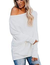 MYMYG Suéteres Mujer Invierno Jersey de Punto Suelto Color Sólido Camisetas Off-Shoulder Suéter para OtoñO Invierno Pull-Over Suéteres Blusa Jumper