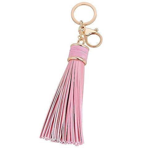 Hrph Simple Pu Leather Tassels Key Chain Women Keychain Bag Pendant Alloy Car Key Chain Ring Holder Retro Jewelry
