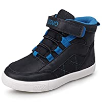 UOVO Boys Winter Boots Unisex Kids Trainers Fashion Girls Mid-top Walking Shoes Fleece Lining Blue Size 5.5UK