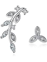 Karatcart Platinum Plated Austrian Crystal Leaf Cuff Earrings For Women