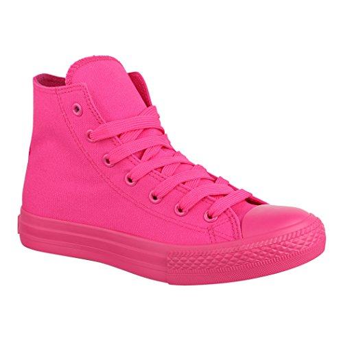 Elara Unisex Sneaker   Sportschuhe für Herren Damen   High Top Turnschuh Textil Schuhe ZY9031-12-Allfushia-37