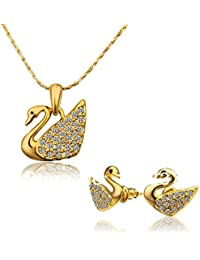 Czech Rhinestone Crystal Black Eyed SWAN Pendant With 18K Gold Plated Earring Women Jewelry Sets