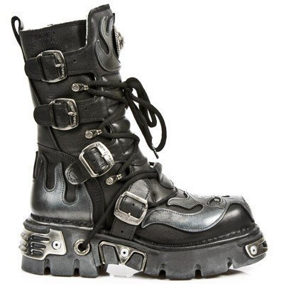 NEWROCK New Rock 107 SILVER SKULL METALLIC BOOTS STIVALI IN