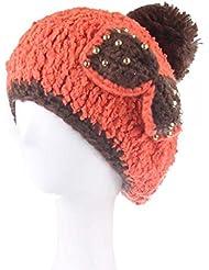 Sombrero de las señoras de invierno niñas lindo sombrero de lana de perlas arco sombrero de punto de invierno femenina ( Color : Amarillo )